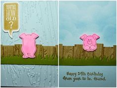 Art Impressions Rubber Stamps: Ai Mini fronts and backs, Elephant & Pig Set (Sku#4505) ... handmade birthday card.