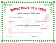 Writing competition award certificate template for ms word download writing competition award certificate yadclub Choice Image