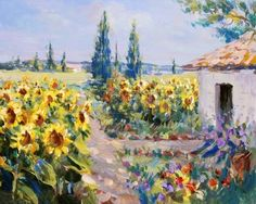 Summer Landscape Painting - Acrylic Paints On Hardboard Stock Photo, Picture And Royalty Free Image. Image 12903255.