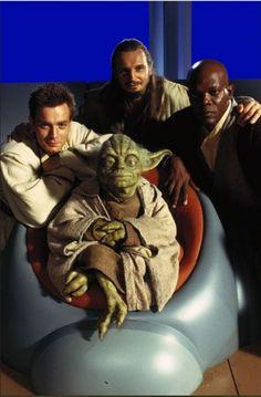 Obi-Wan Kenobi (Ewan McGregor), Qui Gon Jinn (Liam Neeson), Mace Windu (Samuel L Jackson) and Yoda...