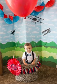 first birthday boy travel theme hot air balloon photo prop