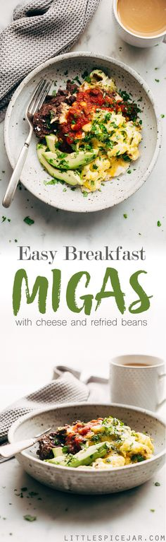 Easy Breakfast Migas ~ These Tex-Mex style scrambled eggs are made with tortilla chips, cheese, and lots of salsa!