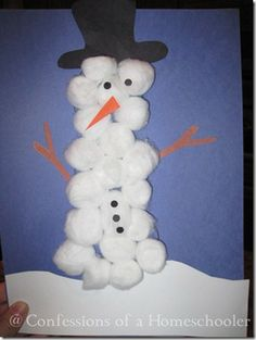 This snowman craft is perfect for a kids' classroom around Christmas! Make a snowman out of cotton balls with this fun kids craft.
