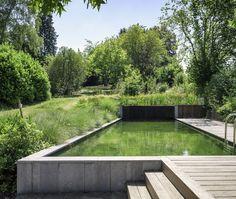 Garden Swimming Pool, Natural Swimming Pools, Backyard Pool Landscaping, Backyard Pool Designs, Country Pool, Earthship Home, Pool Lounge, Plunge Pool, In Ground Pools