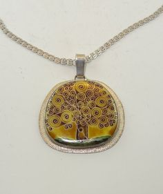 FREE SHIPPING silver cloisonne enamel necklace. jewelry pendant yellow tree
