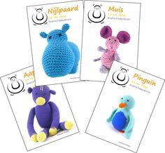 4 haakpatronen (nijlpaard, aap, muis en pinguïn)