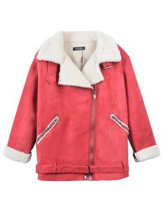 Red Lapel Shearling Oversize Coat With Zipper Detail | Choies
