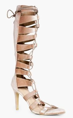 Maddison Knee High Lace Up Gladiator Heel by Boohoo. We'll make sure your shoes keep you one stylish step ahead of the crowdWhether you're keeping it simple in sliders, living the high life in heels or joining the fash pack in flatforms, you'll be heading to shoe heaven with our fashion-fo... #boohoo #nudeshoes