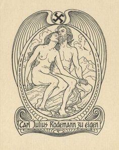 Bookplate by Hugo Höppener (Fidus) for Carl Julius Rodemann, 1908