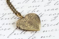 Brass Heart Locket - Etched Locket - Photo Locket - Pendant Necklace - Brass Chain - Romantic Necklace - Mothers Day - Girlfriend Gift