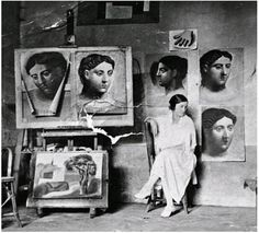 Olga in Picasso's studio, Fontainebleau, France, 1921