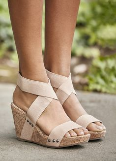 e64bddfbc7f8 Comfortable platform cork wedges with blush champagne straps