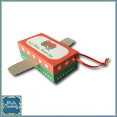 Digital Packing Party Mini Shoebox Ornament- This adorable mini shoebox plane ornament is a great addition to your Christmas tree this year! Follow the easy step-by-step instructions (included) to assemble the ornament. It makes a great party favor at shoebox packing parties and can be personalized with custom wording on the top of the box. Create your ornament today!