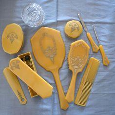 Vintage Pereline Antique Dresser Vanity Set Box Case