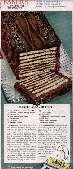 This reminds me of a dessert a family friend used to make when we went to their homes for dinner. Layers of chocolate + yumminess. Chocolate Lovers, Chocolate Desserts, Chocolate Cake, Chocolate Squares, Retro Recipes, Vintage Recipes, Vintage Food, Vintage Cakes, Cake Recipes