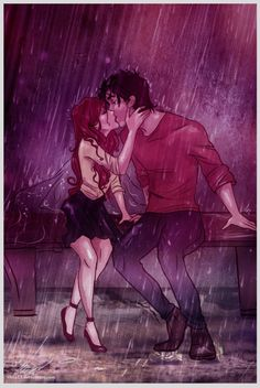 James Potter and Lily's romantic kiss in the rain