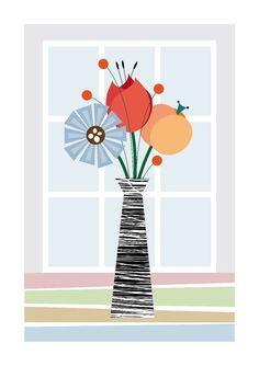 Flowers, Art, Illustration, Rretro Style, Kitchen Posters, Size A3