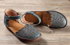 3 ColorsHandmade Women Leather Sandals Flat Hollow Shoes