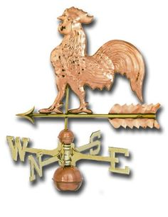 Detailed Small Copper Rooster Weathervane