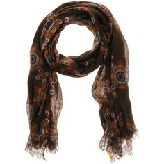 Pyaar Stole ($51) ❤ liked on Polyvore featuring accessories, scarves, dark brown, floral print scarves, floral scarves, gauze scarves, floral shawl and pyaar