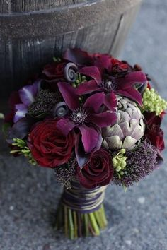 violet, plum and aubergine in bouquet by Twisted Willow Flowers #bouquet # dark. #wedding