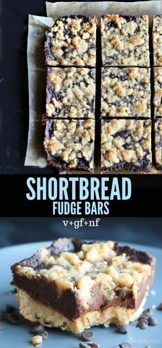 Fudge Bars - Everyday Maven - Shortbread Fudge Bars Buttery cookie crust, inspired by Grandma's homemade shortbread, layered with a not-too-sweet, dairy free chocolate fudge and of course it's vegan, gluten-free and allergy friendly. Dairy Free Bread, Dairy Free Snacks, Dairy Free Breakfasts, Gluten Free Sweets, Dairy Gluten Free Dessert, Dairy Free Fudge, Vegan Gluten Free Brownies, Dairy Free Baking, Gluten Free Bars