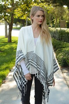 This trendy and cozy style Quilted tassel Ruana Poncho. Purchase through Leto Wholesale! a Los Angeles based supplier and distributor of Fashion forward Bohemian style women's accessories with low minimums and same day shipping Cozy Fashion, Trendy Fashion, Fashion Brands, Fashion Accessories, Womens Fashion, Wrap Cardigan, Shrug Sweater, Chic Outfits, Fashion Outfits
