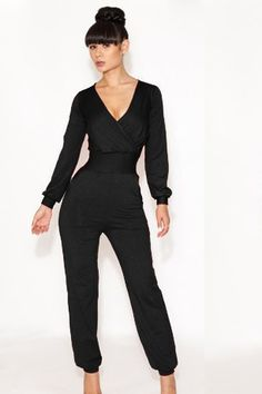 Women's Deep V Sexy Long Sleeves Jumpsuit 4 color Black,White,Red,Blue  -$10.50