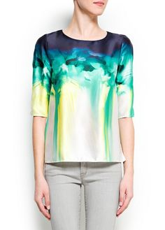 Watercolor floral print blouse from Mango