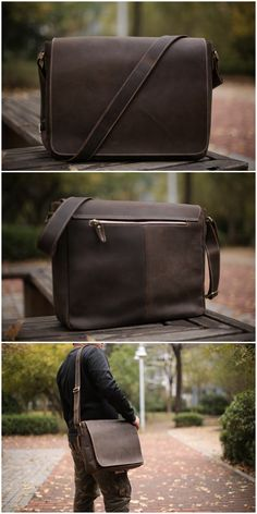 Leather Men Messenger Bag Laptop Bag Crossbody Bag Leather Work Bag 49c4fcdad7f79