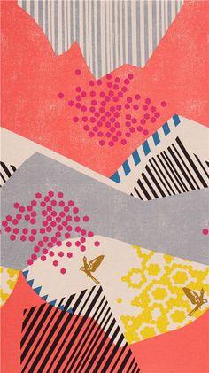 echino landscape canvas fabric coral-grey from Japan bird mountain - Echino Fabric - Fabric - kawaii shop modeS4u