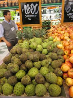 chirimoyas & Pineapple & Custard apples at Puerto Varas