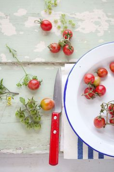 Looks like the cupid tomatoes I grew in my wine box garden this year...but I've never styled them so beautifully!