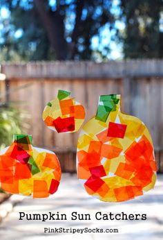 Pumpkin decorating for fall. DIY Milk Jug Pumpkin Sun Catcher Craft!