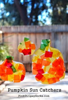Pumpkin decorating for fall. DIY Milk Jug Pumpkin Sun Catcher Craft!