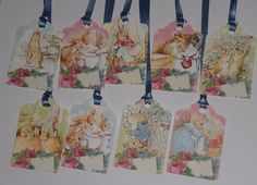 9 Beatrix Potter Easter Bunny Rabbit Hang Tags Gift Ties Ornies Party Favors #Handmade