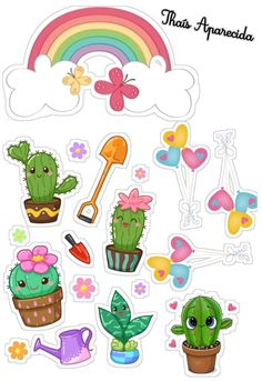 Cactus Cartoon, Page Borders Design, Diy Envelope, Anime Child, Graphics Fairy, Journal Stickers, Printable Stickers, Happy Planner, Birthday Party Invitations