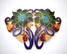 Antique1900s Art Nouveau champleve enamel flower gilt metal