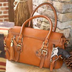 Aged Brown Leather Concealed Carrie Satchel