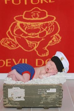 If I was having a boy, I would totally buy this just for a photo.... Crochet Marine Corps Blues Cover and Diaper cover set, Baby Hat Photography prop. $38.00, via Etsy.