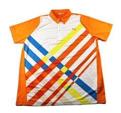 Puma Sport Lifestyle Orange Polo Shirt Mens Size Large