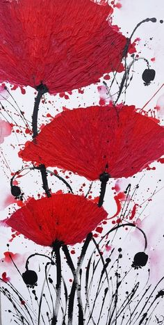"Irina Rumyantseva; Acrylic 2012 Painting ""Red Poppies"""
