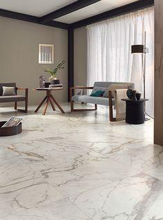 Photo features Bistrot Calacatta in 24 x 24 floor tile.