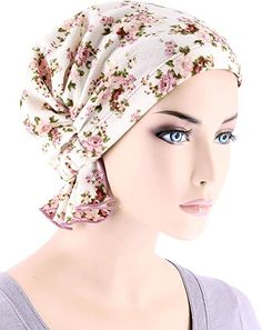 Abbey Cap Women's Chemo Hat Beanie Scarf Turban Headwear for Cancer Blended Knit Ivory Rose Floral Chemo Beanies, Hat Embroidery, Tips Belleza, Caps For Women, Scarf Styles, Cancer, Knitting, Floral, Head Coverings