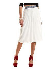 Striped-Waist Pleated Chiffon Midi Skirt