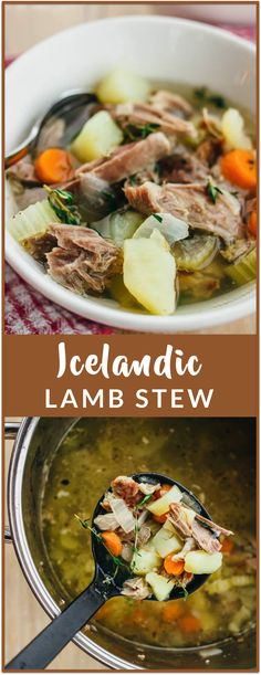 Icelandic lamb stew - Sheep outnumber people in Iceland by a factor of and la. Icelandic lamb stew - Sheep outnumber people in Iceland by a factor of and lamb stew is one of the most popular d Lamb Recipes, Meat Recipes, Dinner Recipes, Cooking Recipes, Healthy Recipes, Drink Recipes, Viking Food, Nordic Recipe, Lamb Stew