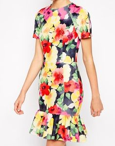 ASOS Scuba Pencil Dress with Peplum Hem in Floral Print