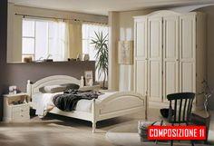 Camera da letto in legno massello color bianco. Stile rustico ma non troppo, adatto a case private, B&B, Agriturismo, Alberghi  PREZZI DI FABBRICA CONTATTACI PER UN PREVENTIVO