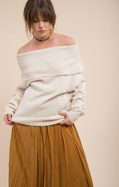2d502dffefabc MELANIE IVORY SWEATER Off Shoulder Sweater