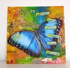 An original mixed media butterfly on canvas board 25 x 25 cms. $25.00, via Etsy.